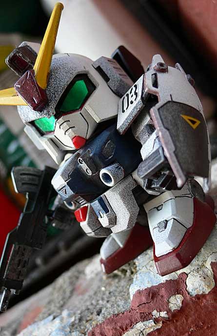 Super Deformed Blue Destiny Gundam kit painted