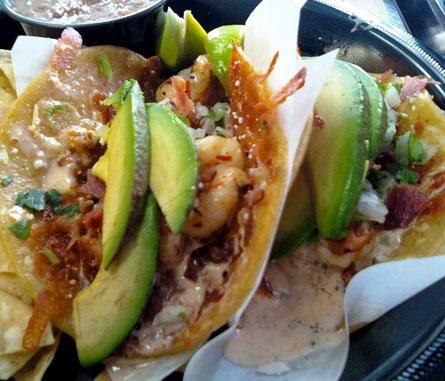 Rubios Garlic Herb Shrimp Tacos with Bacon