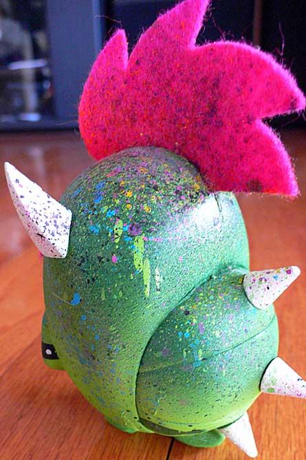 custom painted bossy bear turtle by jared deal of carnival cartoon, koopup 2 up pink, vinyl toy figure