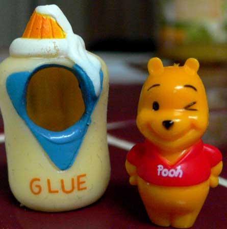 Peek-A-Pooh Capsule Toy, Winnie The Pooh, Glue Bottle